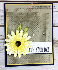 Stampin' Up! Daisy Delight With Burlap Background. Happy Birthday Gorgeous handmade card. Find supplies at www.shopwtihmystamplady.com
