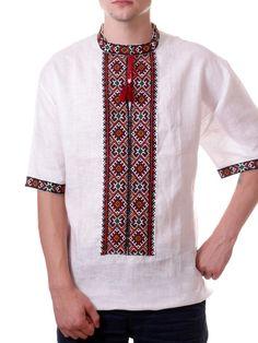 Ukrainian HAND Embroidery Men VYSHYVANKA LINEN White SHIRT L Xl 2XL 3XL 4XL #Handmade #UkrainianFolk