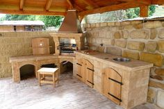 is that a wood grill-rotisserie combo? And, a compost hole? Outdoor Bbq Kitchen, Backyard Kitchen, Summer Kitchen, Outdoor Kitchen Design, Outdoor Cooking, Backyard Patio, Backyard Retreat, Parrilla Exterior, Garden Sink