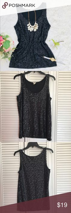 "J. Crew women black sequin tank top This women sequin tank top is come in black. Sequin is all around the shirt. No sequin missing. Good condition.  Top to bottom: 25.5"" Chest: 17"" Measurement are base on item lay flat on the floor. J. Crew Tops Tank Tops"
