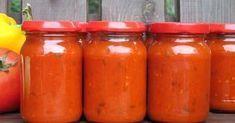 Bardzo smaczny i prosty w przygotowaniu sos z pomidorów i papryki. Idealny na zimno jako dodatek do wędlin czy kanapek oraz na ciepło z ryżem czy makaronem Ketchup, Hot Sauce Bottles, Preserves, Cake Recipes, Vegetarian Recipes, Food And Drink, Stuffed Peppers, Homemade, Canning
