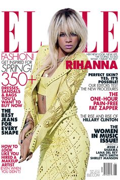 Midriff and studs... Rihanna is Elle's May cover girl.