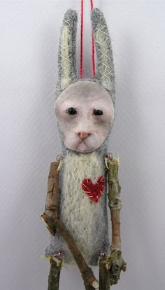 Folk Art Doll ornament bunny rabbit