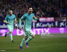 Barcelona's Argentinian forward Lionel Messi celebrates a goal during the Spanish Copa del Rey (King's Cup) semi final first leg football match Club Atletico de Madrid vs FC Barcelona at the Vicente Calderon stadium in Madrid on February 1, 2017. / AFP / PIERRE