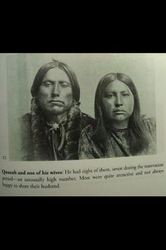 Quanah Parker with one of his wives Native American Church, Native American Images, Native American Wisdom, Native American Tribes, Native American History, Native Americans, Native Indian, Indian Tribes, Quanah Parker