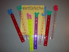 Literacy Centers by Kindergarten Nana ~ Children select an alphabet pointer and walk around looking for words/items that begin with that letter. Older children can record those words on their Word Detective Sheets. I'm going to use this with my preschooler around the home and yard.