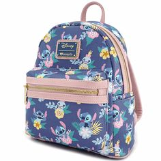 2594b456784 Disney - Stitch   Scrump Floral Print Loungefly Mini Backpack - ZiNG Pop  Culture Bolso Disney