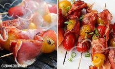 Gegrillte Schinken-Tomatenspieße