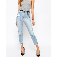 ASOS FARLEIGH High Waist Slim Mom Jeans In Forever Blue Wash With Rips ($57) ❤ liked on Polyvore featuring jeans, blue, ripped jeans, white high-waisted jeans, white ripped jeans, white distressed jeans and white slim fit jeans