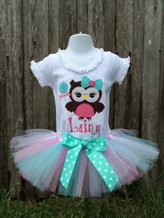 Owl Birthday Shirt - Personalized Birthday Shirt - Birthday Outfit - Tutu - Look Whoo's Turning 2! -  by OurLilBowtique, $25.00