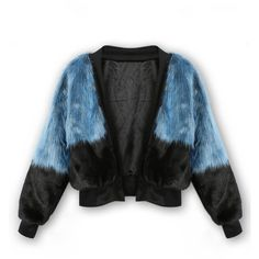 Blue And Black Contrast Long Sleeve Faux Fur Coat ❤ liked on Polyvore featuring outerwear, coats, imitation fur coats, long sleeve coat, blue faux fur coat, fake fur coats and faux fur coats