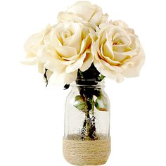 Creative Displays Vanilla Roses Mason Jar Arrangement (85 CAD) ❤ liked on Polyvore featuring home and home decor