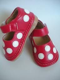 Red polka dot squeakers