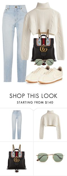 """Untitled #3789"" by camilae97 ❤ liked on Polyvore featuring Yves Saint Laurent, Gucci, Ray-Ban and NIKE"