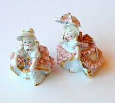 Vintage George Z Lefton Figurines Bloomer Girls by retrogroovie,