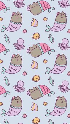 We are Pusheen Mermaids Unicornios Wallpaper, Trendy Wallpaper, Kawaii Wallpaper, Pattern Wallpaper, Cute Wallpaper Backgrounds, Wallpaper Iphone Cute, Cute Cartoon Wallpapers, Chat Kawaii, Kawaii Cat