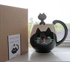 Concombre by Decole Manmaru Ceramic Mug + Animal Spoon Set (Cat)~KAWAII!!