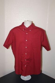 croft&barrow men short sleeves casual shirt (L) red button front cotton blend #CroftBarrow #ButtonFront #ebay