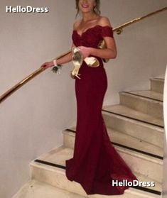 Wine Red Off-shoulder Mermaid/Trumpet Formal Occasion Dress Evening Gown on Storenvy
