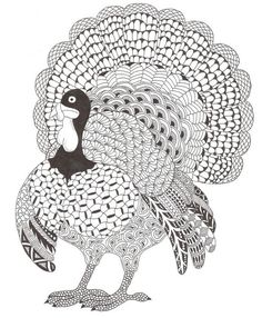 Adult coloring page Thanksgiving turkey