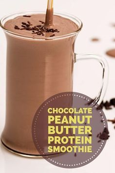 Healthy Chocolate Peanut Butter Protein Smoothie! Gluten free, Dairy free, Vegan friendly, and only 4 simple ingredients! Click the image for more Smoothies and Shakes!