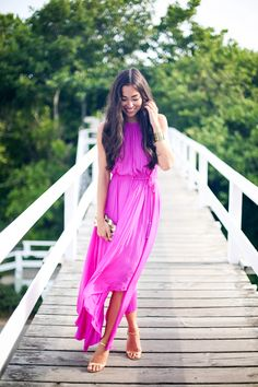 With Love from Kat: Calypso St. Barth pink maxi dress and Michael Kors gold heels.