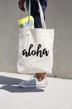 Aloha Tote Bag Canvas Cotton Market Book Bag Bookbag Minimalist Simple Hawaii American Apparel Brand Black Calligraphy Graphic Design