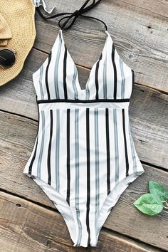 5c66c77a0e CUPSHE Iceandsnow Love Stripe One-piece Swimsuit Deep V neck Summer Sexy  Backless Monokini Ladies Beach Bathing Suit Swimwear