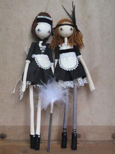 Ooh la la! French maid dolls by Sarah Strachan