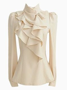 Choies Beige High Neck Blouse With Ruffle Front High Neck Shirts, High Neck Blouse, High Neck Top, Blouse Col Haut, Latest Fashion For Women, Womens Fashion, Ruffle Shirt, Frilly Shirt, Ruffle Neck Blouse