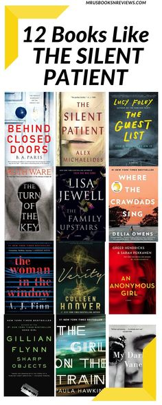 12 Books Like THE SILENT PATIENT Book Club Books, Big Books, Good Books, Book Lists, Best Mystery Books, Murder Mystery Books, Mystery Novels, Book Suggestions, Book Recommendations