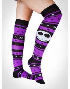 Nightmare Before Christmas Purple Fair Isle Over The Knee Socks...i have to get these for derby