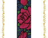 """2drop Peyote beading pattern Bracelet """"Wild roses"""" .  Instant Download. Pattern PDF."""