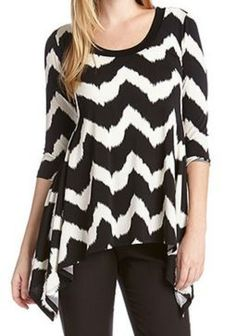 Awesome Black and White Tribal Zig Zag Top