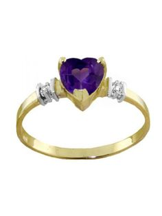 This ring features a dainty yet gorgeous 6.0mm heart-shaped natural Purple Amethyst set in a beautiful band masterfully crafted in solid, unplated 14K Gold with a brightly-polished finish accented with two round, K-M color, I-3 clarity genuine Diamonds. You are sure to earn compliments wearing this beautiful creation from Galaxy Gold Products!