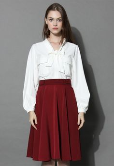 Refined Tie-bow Chiffon Top in White - New Arrivals - Retro, Indie and Unique Fashion