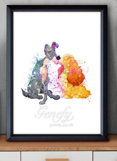 Disney Lady and the Tramp Watercolor Poster Print  by GenefyPrints