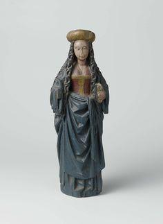 Anonymous | Vrouwelijke heilige met tulband, Anonymous, c. 1520 - c. 1530 | Zij houdt een boek in de linkerhand. Over een hemd draagt ze een laag uitgesneden keurs, verder een rok en een mantel. Om het middel een sjerp. Op het lange, golvende haar een tulband.