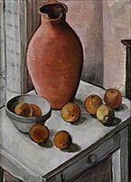 Agda Holst - Stilleben med Krus och Äpplen