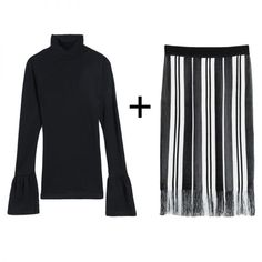 - No matter theprice, a black turtleneck looks insanely sleek with anything. Pair it with a fun, striped fringe skirt for a refined result that's still easy on the eyes.
