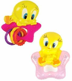 Baby Looney Tunes Tweety Rattle & Teether Set (Pink) by Warner Bros Studios. $8.95. Colorful gift set featuring Baby Looney Tunes Tweety Bird! Set includes one rattle and one teether. Rattle has bright colors, fun shapes to catch baby's attention.Teether has rattle, water filled teething ring. Just refrigerate to cool.. Save 31%!