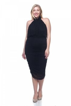 183f5b9af29 Halter Neck Sheer Midi Dress  fashion  clothing  shoes  accessories   womensclothing   · Ladies Plus Size ...