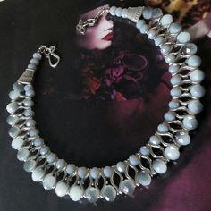 Grey crystal statement necklace