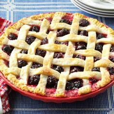 Oregon Marionberry Pie with cream cheese filling