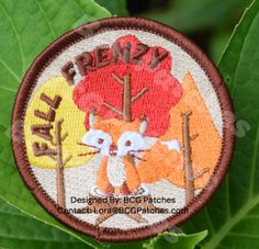 """2 1/2"""" circle Fully embroidered Sew on  Download the FREE Program Guide to see how to earn this patch!  Choose from 20 activities to earn 100 points and earn the Fall Frenzy patch! Patches are ordered and will be arriving mid-August 2016.   Sample activities include:  Start a patch blanket Go leaf peeping Try a hot mulled cider recipe plant bulbs for Spring"""