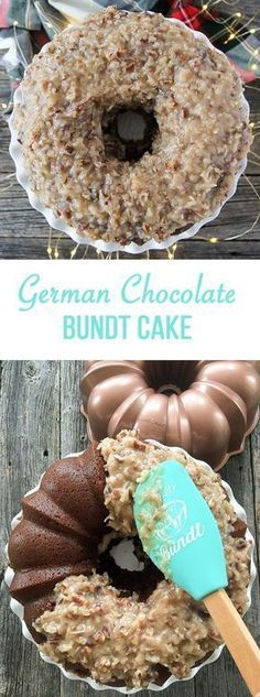 Make this German Chocolate Bundt Cake! With a gooey coconut, pecan and caramel frosting that complements this subtle chocolate flavoured cake.