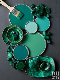 There are a lot of great ways to decorate with jewel tones, but we think they look best when paired with other dark, saturated colors. Take jade green, for example. Whether it's marbleized or painted as a solid color, it looks great with charcoal gray and black accents. Green Wall Color, Green Paint Colors, Bedroom Paint Colors, Jade Green Color, Emerald Green, Green And Gray, Green Art, Green Walls, Mint Green Paints