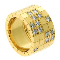 Cartier Lanieres Diamond Yellow Gold Ring | From a unique collection of vintage band rings at http://www.1stdibs.com/jewelry/rings/band-rings/