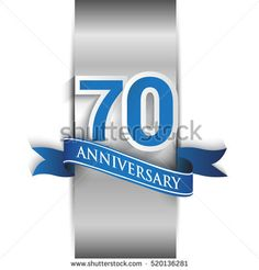 70th anniversary logo with silver label and blue ribbon, Vector design template elements for your birthday party.