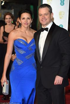 Best Supported Actress!Putting her ample assets on display in a strapless cobalt gown, the 40-year-old looked half her age as she walked the carpet alongside her husband Matt who is nominated for Best Actor
